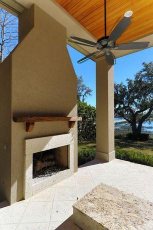 Modern Porch with Wrap around porch, exterior tile floors, outdoor pizza oven, exterior concrete tile floors