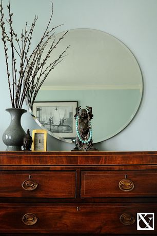 Eclectic Guest Bedroom with Feiss infinity mirror, Crown molding