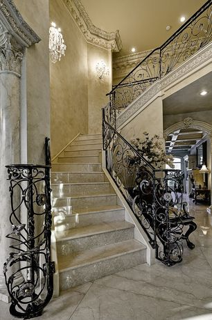 Mediterranean Staircase with Polished marble floors, Venetian plaster, Custome railing