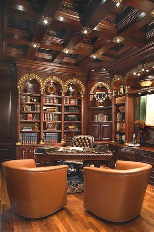 Traditional Home Office with Built-in bookshelf, Crown molding, Natural wood coffered ceiling, Box ceiling, can lights