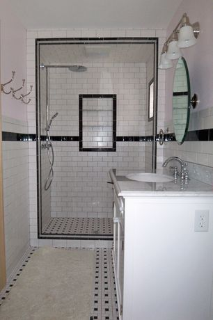 """Traditional 3/4 Bathroom with Possini Darcy Etched Glass 22"""" Wide Polished Nickel Bath Light, Inset cabinets, Undermount sink"""