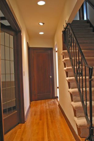 Craftsman Hallway with Hardwood floors, French doors