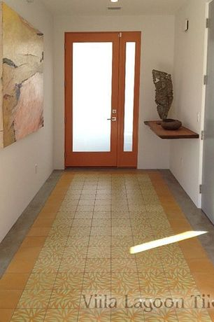 Contemporary Entryway with French doors, slate tile floors