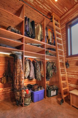 Rustic Closet with Laminate floors, can lights, High ceiling, Built-in bookshelf, picture window
