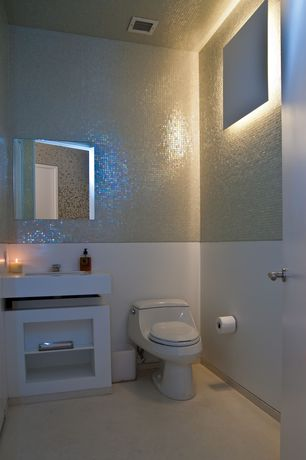 Contemporary Powder Room with Simple marble counters, Carpet, Wall sconce, Undermount sink, Powder room