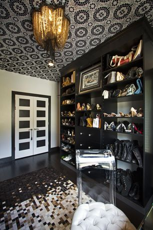Contemporary Closet with Custom built-ins closet, Ceiling wallpaper, Built-in bookshelf, Chain chandelier, Paint, can lights