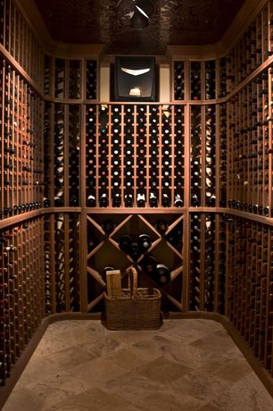 Contemporary Wine Cellar with Designer Series 95-Bottle 5-Column Wine Rack with Display Row - Classic Mahogany, High ceiling