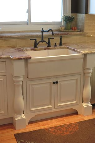 "Traditional Kitchen with Eleganza tiles eco tuscany 2 x 3 mosaic, 30"" baldwin fireclay farmhouse sink - decorative lip"