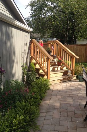Traditional Landscape/Yard with exterior brick floors, Fence, Deck Railing