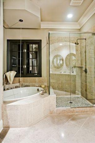 Modern Master Bathroom with Giorello tesserae blends tiles, MS International Galala Limestone Tile