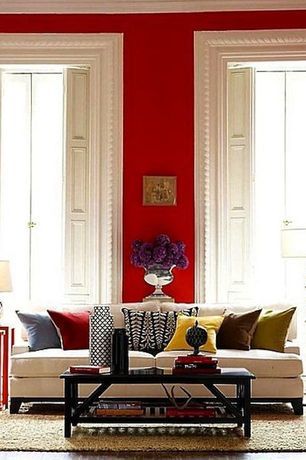 Contemporary Living Room with Interior shutters, Carved molding, Paint, Nesting side tables