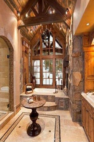 Rustic Master Bathroom with Exposed beam, Sauna, Concrete tile , Wall sconce, Built-in bookshelf, Casement, Chandelier