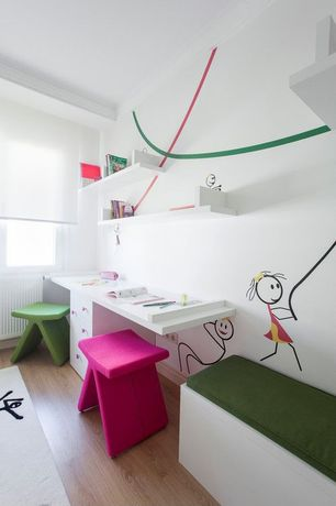 Contemporary Playroom with Crown molding, Laminate floors, Mural, Built-in bookshelf