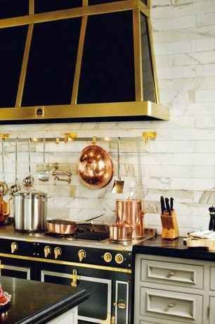 "Traditional Kitchen with Cabot Marble Mosaic - Carrara Marble Series Calacatta Gold  2""x4""  Polished, Kitchen island"