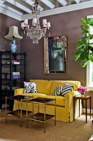 Eclectic Living Room with One kings lane - urbane side table brass, Pier 1 Balloch Raised Frame Mirror (Discontinued)