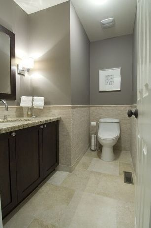 Contemporary Powder Room with Simple granite counters, Undermount sink, Subway Tile, Flat panel cabinets, Wall sconce