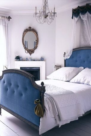 Traditional Master Bedroom with Wall teester bed crown, Traditional style upholstered bed, Antique brass wall mirror sconce