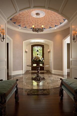 Traditional Entryway with Hinkley lighting cambridge 2 light wall sconce, Chandelier, Box ceiling, complex marble tile floors
