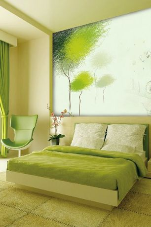 Contemporary Master Bedroom with Large custom artwork, Green grommet top blackout curtain panel pair, Cowhide rug