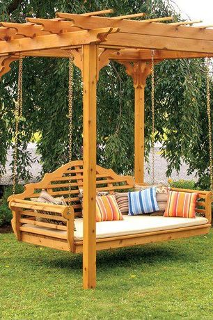 Landscape/Yard with Arbor with swing, Hanging garden swing, Asian garden arbor with swing, Wood swing, Trellis, Asian style