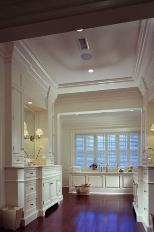 Traditional Master Bathroom with Rejuvenation Deck Mount Tub Filler w/ Hand Shower, Crown molding, Flat panel cabinets, Flush