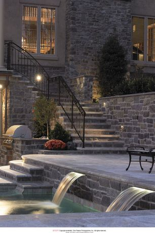 Traditional Patio with Pathway, exterior tile floors, Fountain