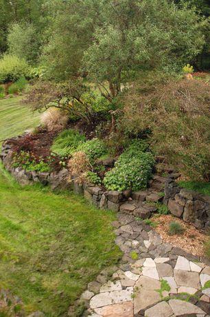 Rustic Landscape/Yard with Stone Farm New England Wall Stone, Pathway, Stone Farm Irregular Flagging, Raised beds