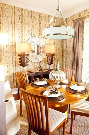 Contemporary Dining Room with Crown molding, Hardwood floors, Pendant light, interior wallpaper, Standard height