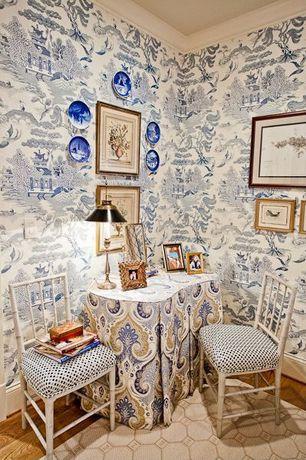 Traditional Guest Bedroom with Hardwood floors, Crown molding, interior wallpaper