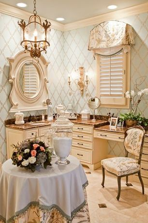 Traditional Master Bathroom with Pier 1 claudine dining chair, Chandelier, Powder room, Crown molding, Plantation shutters