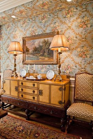 Traditional Dining Room with interior wallpaper, Hardwood floors, Chair rail, Crown molding, Wainscotting, High ceiling