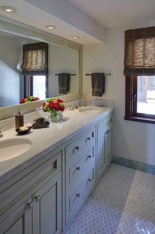 Traditional Full Bathroom with Vinyl floors, Double sink, Kitchen Craft, Cochrane Cabinet Door Style, Simple Marble