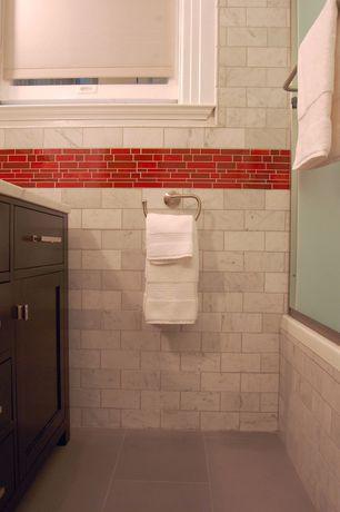 Contemporary Powder Room with Simple marble counters, Florim usa urban landscape porcelain tile - south side, Concrete tile