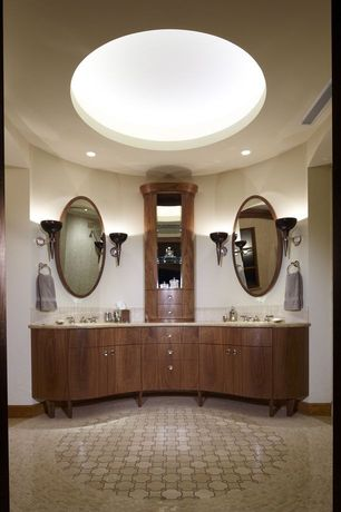 Contemporary Master Bathroom with Simple granite counters, drop-in sink, Standard height, European Cabinets, can lights