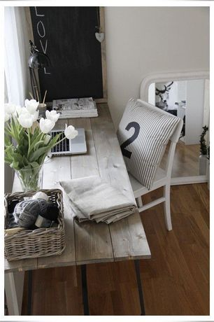 Cottage Home Office with Pillow Cover Charcoal Grey Almost Black Ticking Stripes, Brooklyn Modern Rustic Reclaimed Wood Desk