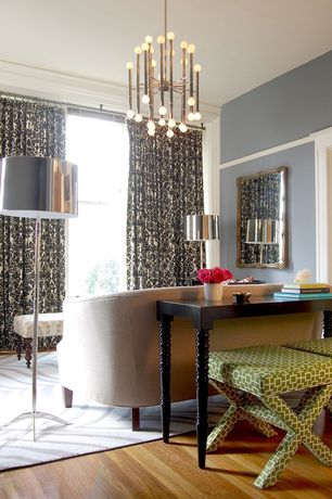 Contemporary Living Room with Floor to ceiling curtain, Chandelier, Hardwood floors, Crown molding, Jonathan Adler X Bench