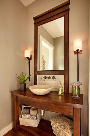 Craftsman Powder Room with Wall sconce, Silkroad exclusive travertine stone vessel sink bowl lavatory basin, Vessel sink