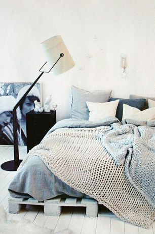 Contemporary Master Bedroom with Ikea - rens sheepskin, Foscarini Diesel Collection Fork Floor Lamp, Upcycled pallet bed