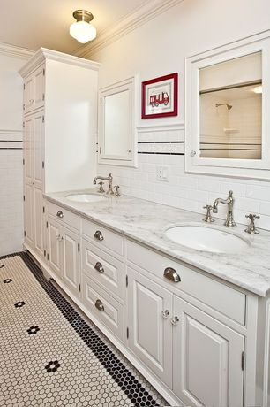 Traditional 3/4 Bathroom with Complex granite counters, Double sink, Crown molding, Shower, Standard height, flush light