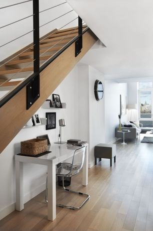 Contemporary Hallway with Standard height, picture window, Laminate floors