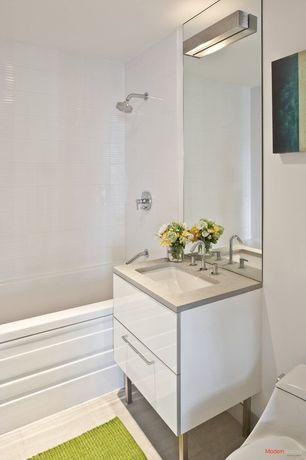 Contemporary Full Bathroom with Simple marble counters, Standard height, wall-mounted above mirror bathroom light, Full Bath