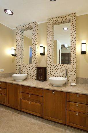 Modern 3/4 Bathroom with Powder room, Simple Marble, Wall sconce, Vessel sink, Frameless, Flat panel cabinets