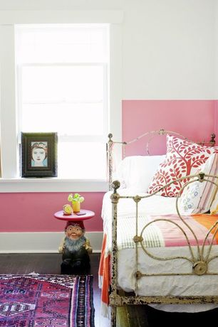 Contemporary Kids Bedroom with Bombay Heritage Juliette Metal Bed, Indo Hand-knotted Kilim Rust and Black Wool Rug