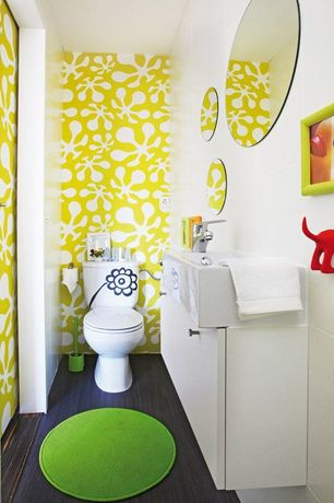 Contemporary Kids Bathroom with European Cabinets, pocket door, Ikea - kolja mirror, Powder room, Paint, Standard height