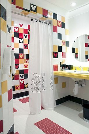 Contemporary Kids Bathroom with curtain showerdoor, Small red tile floor, can lights, Kids bathroom, drop-in sink, Shower