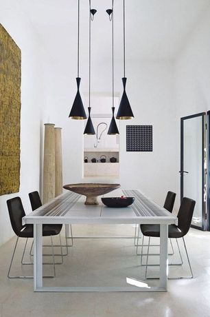 "Contemporary Dining Room with Mobital zip parsons chair, Tom dixon beat tall pendant, Bronx 7 1/2"" wide black pendant light"