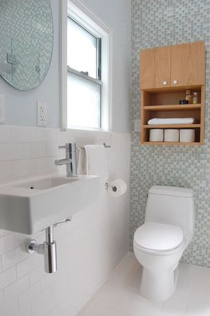 Contemporary Full Bathroom with three quarter bath, Flush, Standard height, Wall mounted sink, large ceramic tile floors