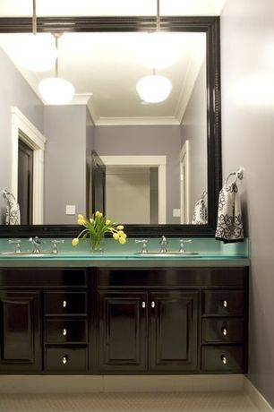 Contemporary Full Bathroom with Rejuvination Eastmoreland Pendant, Powder room, Undermount sink, Flat panel cabinets