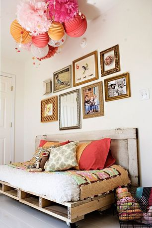 "Cottage Kids Bedroom with Just artifacts - 8"" light orange chinese japanese paper lantern, Painted hardwood floor, Day bed"