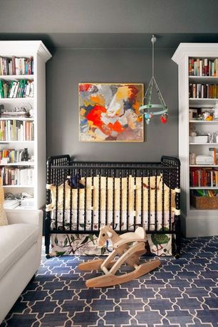 Contemporary Kids Bedroom with Paint, DaVinci Emily Mini Crib in Ebony, nuLOOM Rug Moroccan Trellis Shag Rug